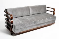 Hungarian Art Deco Solid Walnut Wood Sofa - 1194090