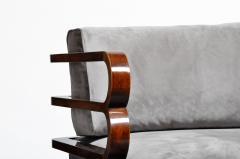 Hungarian Art Deco Solid Walnut Wood Sofa - 1194091