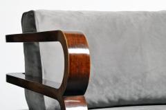 Hungarian Art Deco Solid Walnut Wood Sofa - 1194092