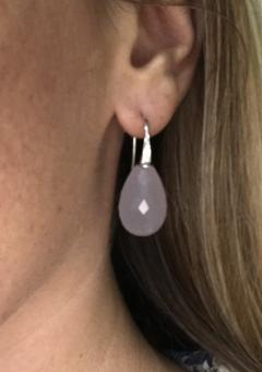 Hydro Calcedony Briolette Cut on White Gold 18K and DIamonds Drop Earrings - 1147504