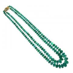 IMPRESSIVE EMERALD BEAD YELLOW GOLD NECKLACE - 1903954