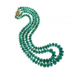 IMPRESSIVE EMERALD BEAD YELLOW GOLD NECKLACE - 1903956