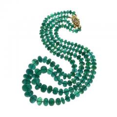 IMPRESSIVE EMERALD BEAD YELLOW GOLD NECKLACE - 1903957