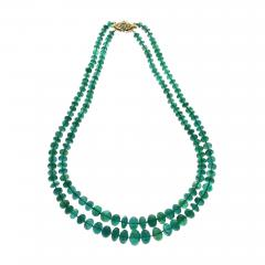 IMPRESSIVE EMERALD BEAD YELLOW GOLD NECKLACE - 1904989