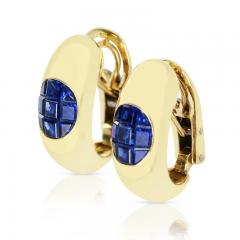 INVISIBLY SET SAPPHIRE EARRINGS 18K YELLOW GOLD - 2021785