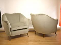 ISA Couple of velvet armchairs circa 1950 Italy  - 977547