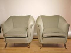 ISA Couple of velvet armchairs circa 1950 Italy  - 977548