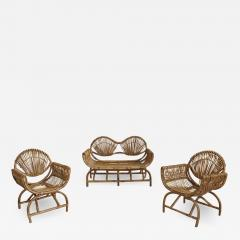 ITALIAN BAMBOO SETTEE AND CHAIRS - 1416758