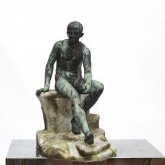 ITALIAN GRAND TOUR GREEN BRONZE SCULPTURE OF THE SEATED HERMES - 1991990