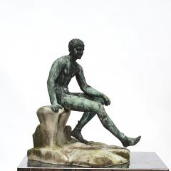 ITALIAN GRAND TOUR GREEN BRONZE SCULPTURE OF THE SEATED HERMES - 1991991