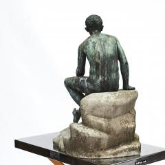 ITALIAN GRAND TOUR GREEN BRONZE SCULPTURE OF THE SEATED HERMES - 1991992