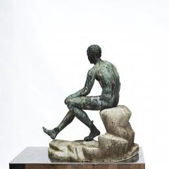 ITALIAN GRAND TOUR GREEN BRONZE SCULPTURE OF THE SEATED HERMES - 1991993