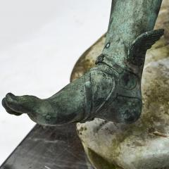 ITALIAN GRAND TOUR GREEN BRONZE SCULPTURE OF THE SEATED HERMES - 1991998