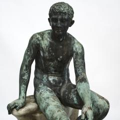 ITALIAN GRAND TOUR GREEN BRONZE SCULPTURE OF THE SEATED HERMES - 1992000