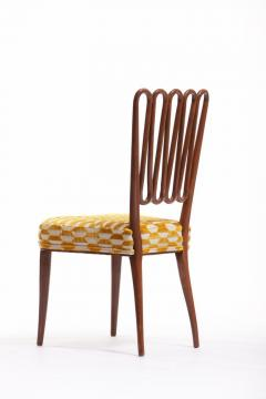 ITALIAN MIDCENTURY SIDE CHAIR AFTER GIO PONTI WITH GOLD AND IVORY CUT VELVET - 1921829