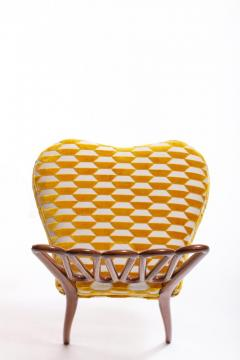 ITALIAN MIDCENTURY SIDE CHAIR AFTER GIO PONTI WITH GOLD AND IVORY CUT VELVET - 1921834