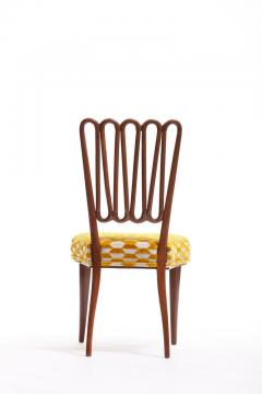 ITALIAN MIDCENTURY SIDE CHAIR AFTER GIO PONTI WITH GOLD AND IVORY CUT VELVET - 1921836