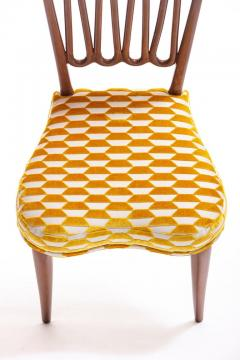 ITALIAN MIDCENTURY SIDE CHAIR AFTER GIO PONTI WITH GOLD AND IVORY CUT VELVET - 1921838