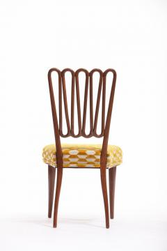 ITALIAN MIDCENTURY SIDE CHAIR AFTER GIO PONTI WITH GOLD AND IVORY CUT VELVET - 1921841