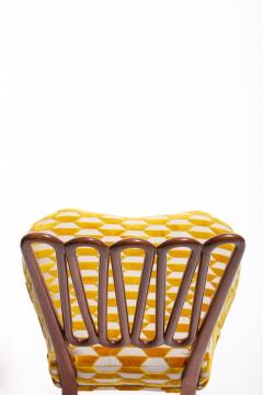 ITALIAN MIDCENTURY SIDE CHAIR AFTER GIO PONTI WITH GOLD AND IVORY CUT VELVET - 1921844