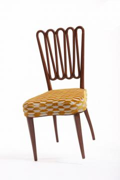 ITALIAN MIDCENTURY SIDE CHAIR AFTER GIO PONTI WITH GOLD AND IVORY CUT VELVET - 1921845