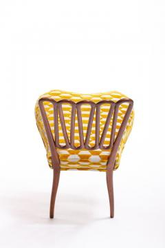 ITALIAN MIDCENTURY SIDE CHAIR AFTER GIO PONTI WITH GOLD AND IVORY CUT VELVET - 1921851