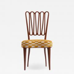 ITALIAN MIDCENTURY SIDE CHAIR AFTER GIO PONTI WITH GOLD AND IVORY CUT VELVET - 1923728