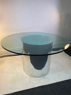ITALIAN MODERN MIRRORED AND GLASS CYLINDER DINING TABLE - 1640452