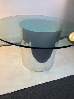 ITALIAN MODERN MIRRORED AND GLASS CYLINDER DINING TABLE - 1640453
