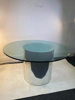ITALIAN MODERN MIRRORED AND GLASS CYLINDER DINING TABLE - 1640454