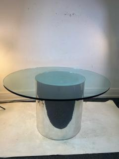 ITALIAN MODERN MIRRORED AND GLASS CYLINDER DINING TABLE - 1640455