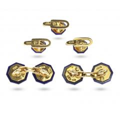 ITALY STAMPED LAPIS AND GOLD DRESS SHIRT PINS AND CUFFLINK SET 18K YELLOW GOLD - 1954946