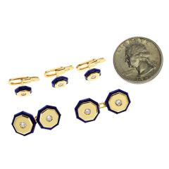 ITALY STAMPED LAPIS AND GOLD DRESS SHIRT PINS AND CUFFLINK SET 18K YELLOW GOLD - 1954947