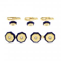 ITALY STAMPED LAPIS AND GOLD DRESS SHIRT PINS AND CUFFLINK SET 18K YELLOW GOLD - 1955188