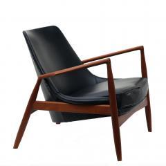 Ib Kofod Larsen Ib Kofod Larsen Black Leather Seal Easy Lounge Chair by OPE in Sweden - 1775680