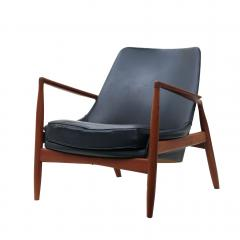 Ib Kofod Larsen Ib Kofod Larsen Black Leather Seal Easy Lounge Chair by OPE in Sweden - 1775681
