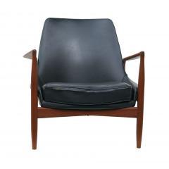 Ib Kofod Larsen Ib Kofod Larsen Black Leather Seal Easy Lounge Chair by OPE in Sweden - 1775682