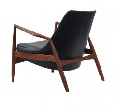 Ib Kofod Larsen Ib Kofod Larsen Black Leather Seal Easy Lounge Chair by OPE in Sweden - 1775684