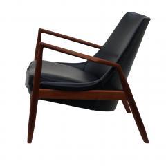 Ib Kofod Larsen Ib Kofod Larsen Black Leather Seal Easy Lounge Chair by OPE in Sweden - 1775685