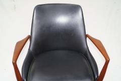 Ib Kofod Larsen Ib Kofod Larsen Black Leather Seal Easy Lounge Chair by OPE in Sweden - 1775688