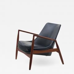 Ib Kofod Larsen Ib Kofod Larsen Black Leather Seal Easy Lounge Chair by OPE in Sweden - 1779022