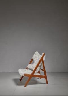 Ib Kofod Larsen Ib Kofod Larsen Limited Edition Sheepskin Knitting Chair Denmark 1951 - 810858