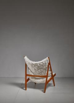 Ib Kofod Larsen Ib Kofod Larsen Limited Edition Sheepskin Knitting Chair Denmark 1951 - 810866