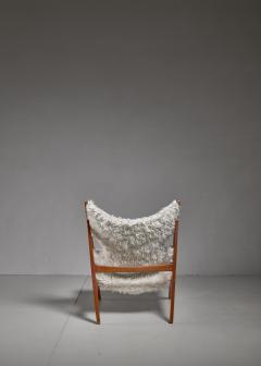 Ib Kofod Larsen Ib Kofod Larsen Limited Edition Sheepskin Knitting Chair Denmark 1951 - 810868