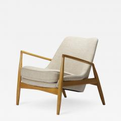 Ib Kofod Larsen Ib Kofod Larsen Seal Lounge Chair in Light Linen Blend Fabric Sweden 1950s - 728276