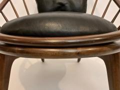 Ib Kofod Larsen Ib Kofod Larsen for Selig Dark Walnut Black Leather Hoop Chair circa 1960 - 1603496