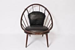 Ib Kofod Larsen Ib Kofod Larsen for Selig Dark Walnut Black Leather Hoop Chair circa 1960 - 1603498