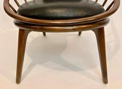 Ib Kofod Larsen Ib Kofod Larsen for Selig Dark Walnut Black Leather Hoop Chair circa 1960 - 1603500