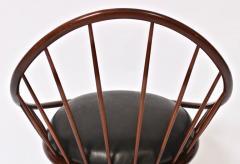 Ib Kofod Larsen Ib Kofod Larsen for Selig Dark Walnut Black Leather Hoop Chair circa 1960 - 1603512