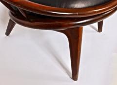 Ib Kofod Larsen Ib Kofod Larsen for Selig Dark Walnut Black Leather Hoop Chair circa 1960 - 1603513